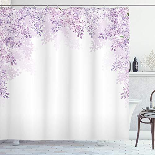 ABAKUHAUS Blume Duschvorhang, Flieder blüht Frühling, mit 12 Ringe Set Wasserdicht Stielvoll Modern Farbfest & Schimmel Resistent, 175x200 cm, Blasses Violett Lavendel Weiß