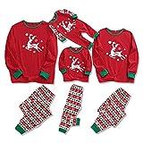 Zoerea Pigiama Natale Famiglia Coordinati Modello di Renna Manica Lunga Top e Pantaloni Pigiameria Autunno Inverno Pajamas Set per Coppia Donna Uomo Bambini Rosso, L-Uomo