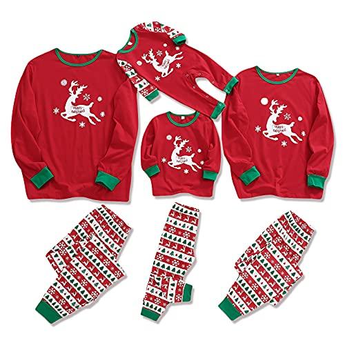 ZOEREA Navidad Familia Pijamas Conjunto de Ropa Reno Cuadros Top y Pantalon para Hombre Mujer Niños Pijama de Dormir Larga de Navidad Ropa de Casa Rojo, 18-24 Meses