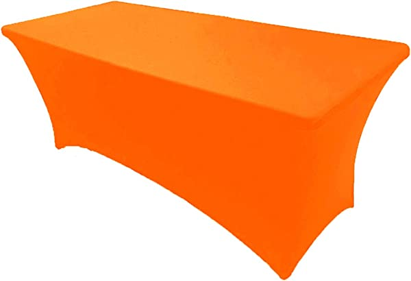 GWHome 氨纶修身弹力桌布长方形桌套婚礼宴会派对橙色
