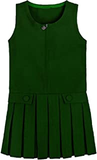 Rimi Hanger Girls Box Pleated Two Buttoned Heart On Zip Pinafore Kids School Uniform Dress 2-16 Years