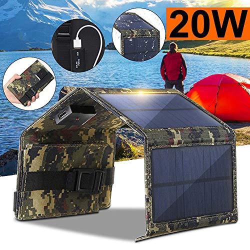 Buop Solar oplader, 20W met 4 zonnepanelen, externe batterijen, USB-poorten, lichtgewicht, outdoor, compatibel voor het opladen van USB-apparaten, mobiel communicatieapparaat, Android enz.