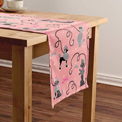 CICIDI Pudel Rock Retro Rosa und Schwarz 50er Jahre Muster Kurz Tischläufer Tischdecke Tischdecke Tischdecke für Party Abendessen Urlaub Küche 13 x 70 Zoll