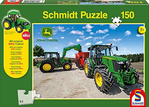 Schmidt Spiele- Puzzle John Deere-Tracteurs de la Série 5M 150 Pièces avec Siku Tractor, 56045