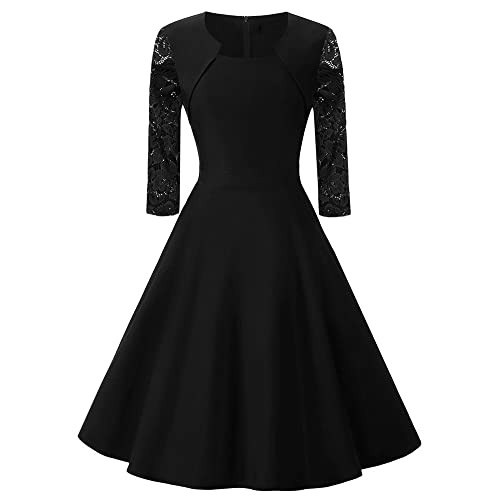 405635e2d6a2 BeneGreat Women's Square Neck 3/4 Floral Lace Sleeve Work Cocktail Party  Swing Dress with