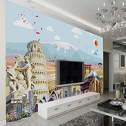 XHXI Papel tapiz mural 3D personalizado HD Agencia de viajes papel tapiz de decoración de pared Mura Pared Pintado Papel tapiz 3D Decoración dormitorio Fotomural sala sofá pared mural-400cm×280cm