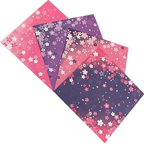 Papel para Papiroflexia, 60 Hojas Papel Origami, Doble cara, flores de cerezo japonesas, 4 diseños diferentes, para Manualidades DIY Proyectos de Artes y Manualidades Juego de Origami Animado(15*15cm)