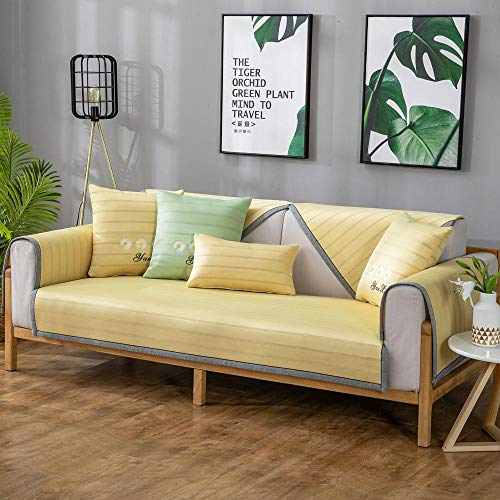 YUTJK Cojín de sofá de Seda Helado Fresco para el Verano,Europeo Fundas de Sofá,Dos Plazas Antideslizante Funda para Sofá,Cubre Sofá para Chaise Long Rinconera,Amarillo_90×90cm