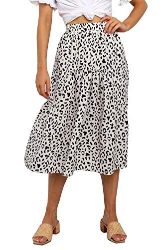 MEROKEETY Women's Boho Leopard Print Skirt Pleated A-Line Swing Midi Skirts White Medium