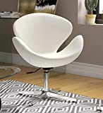 Finch Fox Swan Mid-Century Modern Living Room Swivel Lounge Chair in White Color