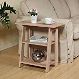 HOMECONCEPT Ladder Chairside End Table Weathered Light Oak by Home Concept - Set Newspapers, Coffee, or Books on This Classic Design; Perfect for Living Rooms or Reading nooks - Small, Oak 11450WO