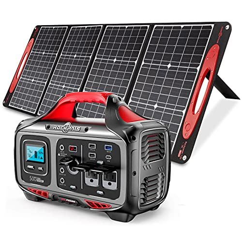ROCKPALS Portable Power Station 500W Solar Generator with 120W/18V QC 3.0&USB-C Output, Foldable Solar Charger for Jackery Explorer/ROCKPALS/Paxcess Portable Solar Generator and USB Devices