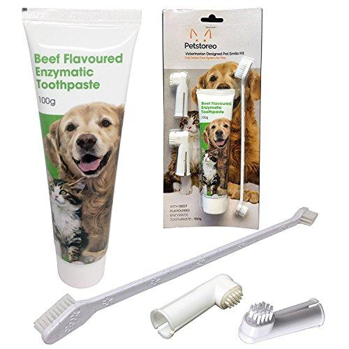 Petstoreo Enzymatische Hundezahnpasta & 3 Zahnbürsten - komplettes Zahnpflegeset für Hunde und Katzen