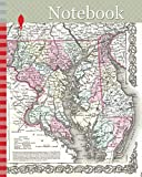 Notebook: 1855, Colton Map of Delaware, Maryland, and Washington D.C.