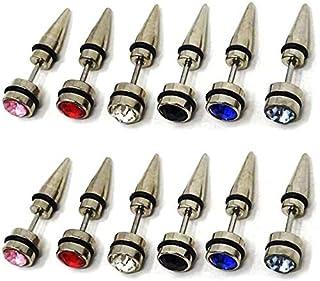 MEENAZ Mens Valentine Stainless Steel Multicolor Blue Black Silver Gold Piercing Screw Bali Stud Ear rings Combo Earing Pi...