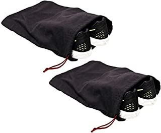 "Earthwise 100% Cotton Shoe Storage Bags For Men/Women with Drawstring in Black. MADE IN THE USA. Great for Travel. Each Black bag holds one pair of shoes. 17"" X 12"" MACHINE WASHABLE (2 Pack)"