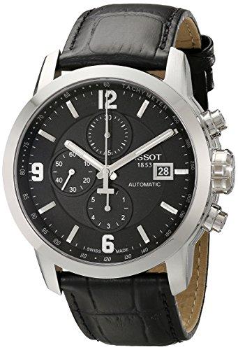 Tissot PRC 200 Armbanduhr (Herrenarmband, Edelstahl, Leder, schwarz)