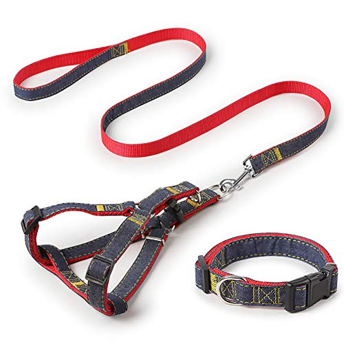 iCAGY Dog Harness and Leash Set with Collar for Small Pets, Easy Walk Adjustable No Pull Dog Harness Leash Collar, Soft Nylon H-Shape Full Dog Body Harness, Red S