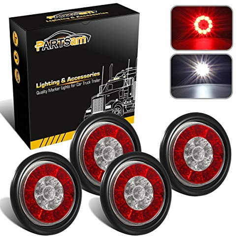 "Partsam 4Pcs 4"" Inch Round LED Trailer Tail Lights with Backup Reverse Lights 16LED Waterproof Stop Brake Tail Running Utility Lights Lamps DC 12V Sealed, Hardwired with Grommet (Not Plug and Play)"