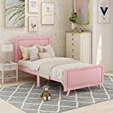 Wood Twin Bed for Girls, Twin Size Bed Frame with Headboard and Footboard for Kids,Toddler Girls