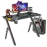 GALAXHERO Gaming Desk, 46.8'' Computer Gaming Desk with Audio Sensor RGB LED Lights, R Shaped Gamer...