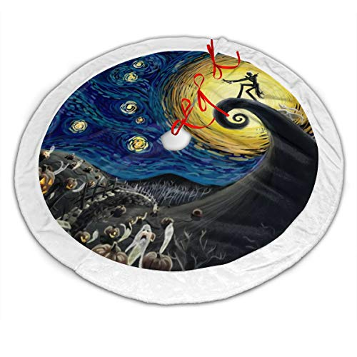 The Nightmare Before Christmas The Starry Night Christmas Tree Skirt 36 Inches, Large Velvet Christmas Tree Decoration Skirt Holiday Party Supply Tie Closure