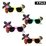 Party Sonnenbrille (4 Stk) - Hawaii Sonnenbrillen Tropical Party Brille fur Herren, Damen - Lustiges...