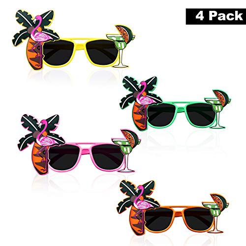 Party Sonnenbrille (4 Stk) - Hawaii Sonnenbrillen Tropical Party Brille fur Herren, Damen - Lustiges Party Zubehor - Palme, Flamingo, Cocktail Beach Partybrille – Grun, Gelb, Apfelsine, Pink