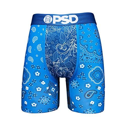PSD Unterwäsche Herren Stretch Wide Band Boxer Brief Unterwäsche - Bandana Print | Atmungsaktiv 17,8 cm Schrittlänge - Blau - Medium
