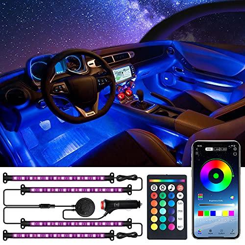 MustWin LED Innenbeleuchtung Auto, RGB Auto Ambientebeleuchtung, mit APP Control & Remote Control, USB-Anschluss Lichtleiste, DC 12V Auto Fußraumbeleuchtung Strip Kit mit Zigarettenanzünder