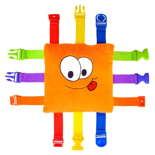 Buckle Toy - Bizzy Square - Learning Activity Toy - Develop Motor Skills and Problem Solving - Easy Travel Toy