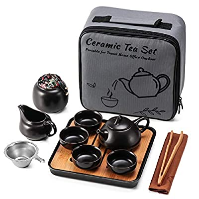 Ceramic Mini Kungfu Tea Set,Travel Teapot with Tray Tea Infuser 4 Teacups, Porcelain Chinese Tea Pot Set All in One Gift Portable Bag for Home Business Hotel Picnic (Black)