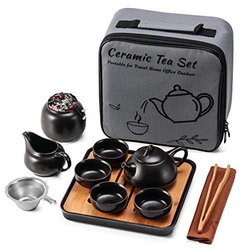Juego de te de ceramica mini kungfu, tetera de viaje con bandeja infusor 4 tazas, tetera china de porcelana todo en uno, bolsa portatil de regalo para negocios, hotel, picnic
