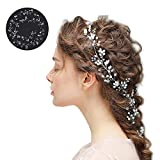100cm Bandeaux Mariage Bijoux Cheveux Chaîne Headband en Perles Cristal pour Femme Accessoire Mariage Soirée Anniversaire Décoration Ornements de Cheveux