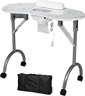 Mefeir Manicure Nail Table, Foldable MDF Laminated Home Nail Beauty Technician Desk, Spa Salon Workstation with Electric Dust Collector, Client Wrist Pad and Carrying Bag