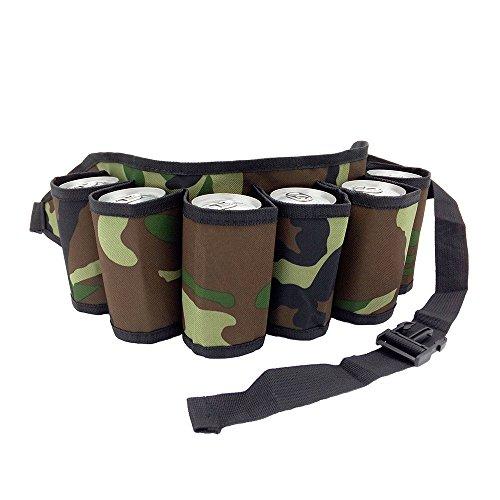 Beer Belt 6 Pack Holster Adjustable Canvas Bottle Waist Pack (camoudlage)