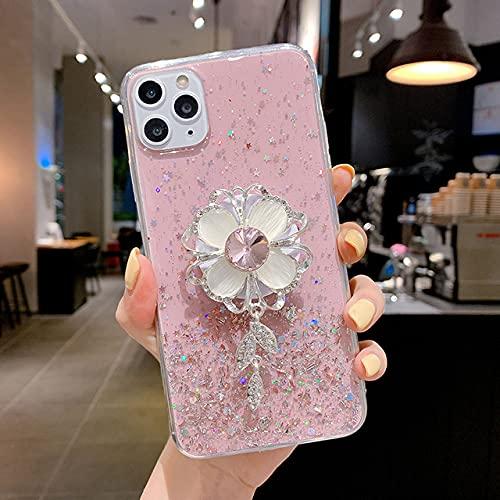 KESHOUJI Diamond Sun Flower Holder Stand Funda Suave para teléfono para iPhone 11 Pro MAX X XS XR 6 7 8 Plus para Samsung S8 S9 A50 S, 2, para S10