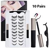 Sunwuun 10 Pair Magnetic Eyelashes with Eyeliner,Magnetic Eyeliner and Lashes Kit False Eyelashes With Reusable Lashes Easy To Wear