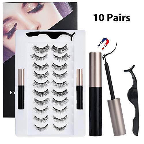 Sunwuun 10 Paar Magnetische Wimpern Magnetic Eyelashes Magnetische Falsche Wimpern und Wasserfester Eyeliner Multi Styles Wimpern Wiederverwendbar und Kein Kleber Erforderlich