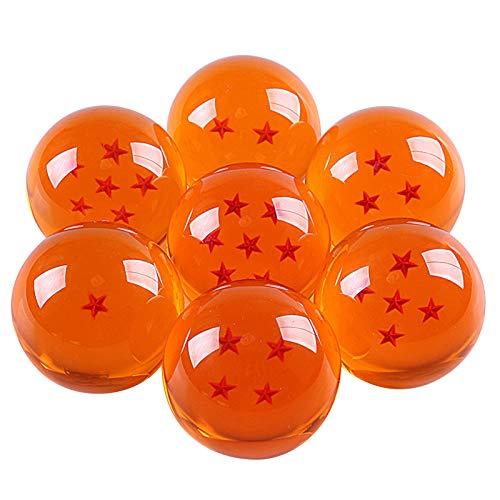 Juego de Bolas de Cristal Unisex Estrellas acrlicas Transparentes Z con Caja de Regalo, 7 Piezas/Juego de Bolas de Anime para nios y Fiestas de Cosplay para nios