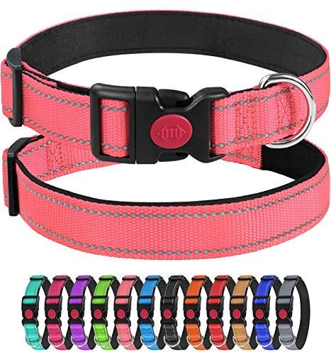 Joytale Collar Perro Reflectante,Nylon Collar Acolchado con Neopreno,para Caminar Correr Entrenamiento,Ajustable para Perros Pequeño,25-40cm,Rosa