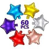 60 Piezas Globos en Forma de Estrella Globos de Estrellas Coloridas de 10 Pulgadas Globos de Papel de Aluminio de Mylar de Estrellas para Baby Shower revelación de género Boda Baile Compromiso