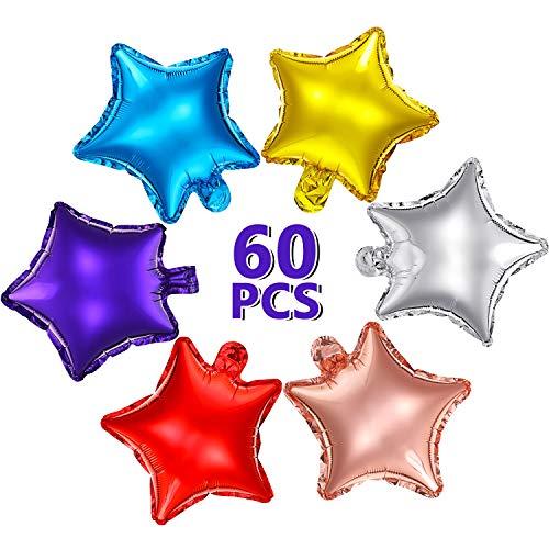 60 Stücke Sternförmige Luftballon 10 Zoll Bunte Stern Ballon Stern Mylar Folien Ballon Aluminium Folien Luftballon für Baby Shower Geschlecht Enthüllen Hochzeit Abschlussball Verlobung