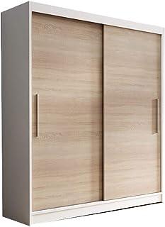 E-MEUBLES Armoire de Chambre avec 2 Portes coulissantes | Penderie (Tringle) avec étagères (LxHxP): 150x200x61 LARA 04 (Bl...