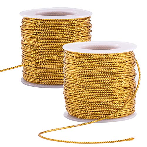 PH PandaHall 109 Yards 2mm Metallic Cord Gold Braided Metallic Beading Cords Metallic Tinsel Cord Tinsel String for Gift Wrap Christmas Tree Ornaments Hanging