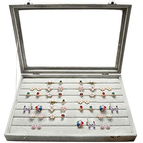 Wuligirl Clear Lid Ring Display Jewelry Box Case for Drawer Stackable Rings Organizer Tray(Ring Box)