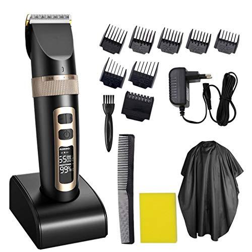 DONGBALA Professional Hair Clipper Cut Haar Für Männer Cordless USB Aufladbare LED-Display Mit 4 Leitfaden Kämme Für Kinder Ältere Erwachsene Salon Houshold Mit Frisuren Tuch (Schwarz)