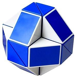EASEHOME Serpiente Magica Rompecabezas Cubo Mágico, 24Parts Snake Speed Puzzle Cube PVC Pegatina Magic Cubes Twist Juguete Juego Educación para niños y Adultos, Blanco Azul