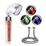 Pommeau de Douche à LED avec Pomme de Douche à Conduit ionique Négatif avec poche à 3 Couleurs Contrôle de la Température...