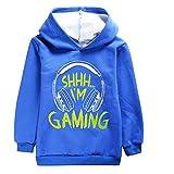 Can't Hear You I'm Gaming Kids Sudadera de felpa con capucha para niños, cómodo jersey, azul, 3-4 Años